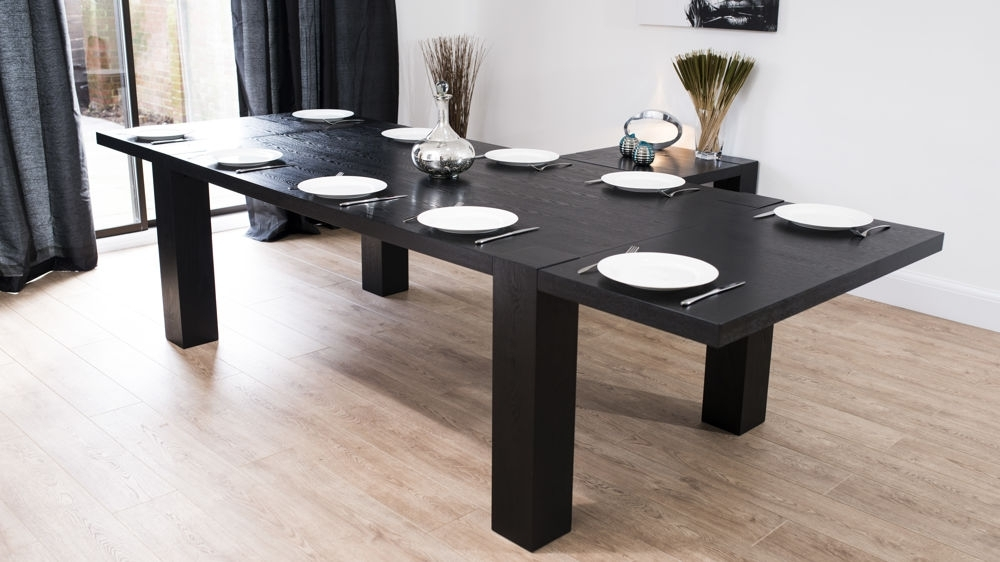 Modern Large Extending Black Ash Dining Table | Chunky Legs | Seats 14 Within Black Extendable Dining Tables And Chairs (Image 19 of 25)