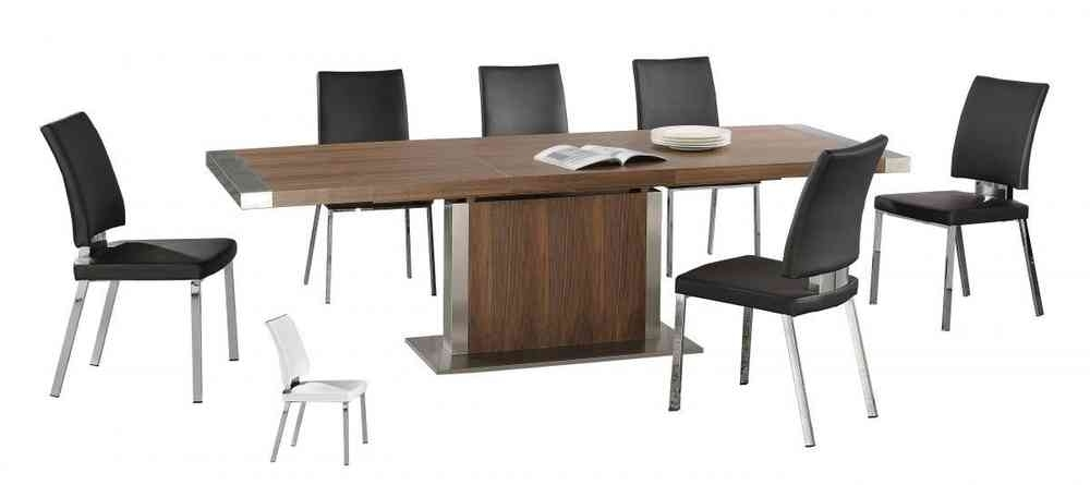 Modern Large Walnut Wooden Extending Dining Table And 6 Chairs With Walnut Dining Table And 6 Chairs (View 13 of 25)