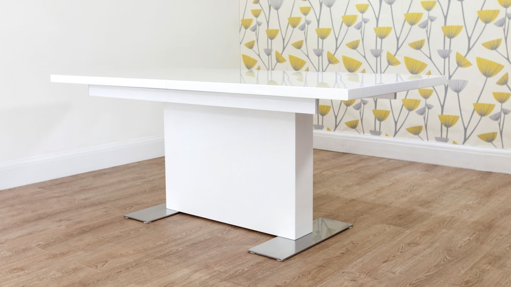 Modern Large White Gloss Extending Dining Table Set Inside Extending White Gloss Dining Tables (Image 13 of 25)