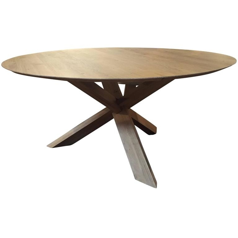 Modern Large White Oak Round Dining Table  Haskell Design For Sale Throughout Large White Round Dining Tables (Image 21 of 25)
