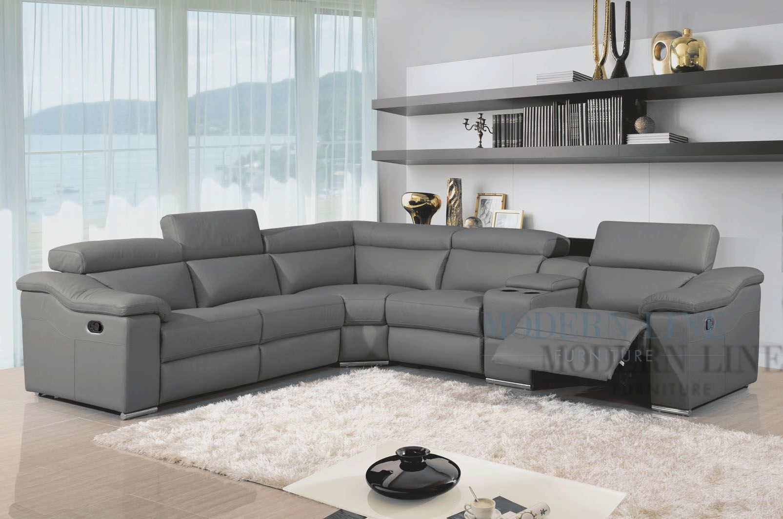 Modern Leather Reclining Sectional Grey Leather Modern Sectional With Marcus Grey 6 Piece Sectionals With Power Headrest & Usb (View 23 of 25)