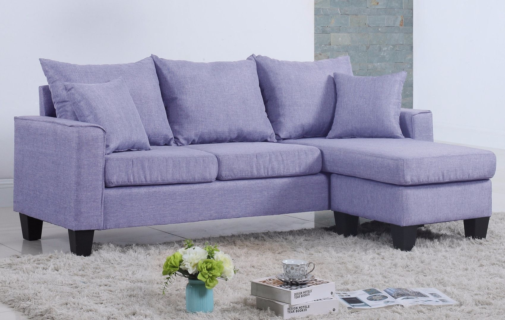 Modern Linen Fabric Small Space Sectional Sofa With Reversible With Regard To Collins Sofa Sectionals With Reversible Chaise (View 6 of 25)
