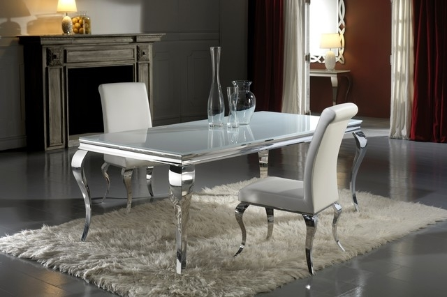 Modern Louis Inspired White Glass Dining Table And Chair Set In Dining Tables London (Image 21 of 25)