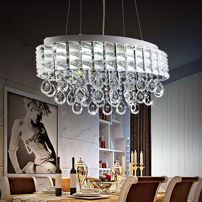 Modern Lustre Led Oval Crystal Chandeliers Luxury Crystal Pendant Regarding Crystal Dining Tables (View 23 of 25)