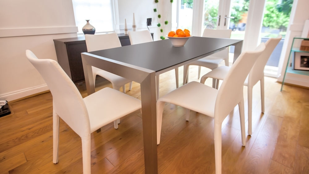 Modern Matt Black Extending Dining Table | Brushed Metal Legs With Extending Black Dining Tables (Image 20 of 25)