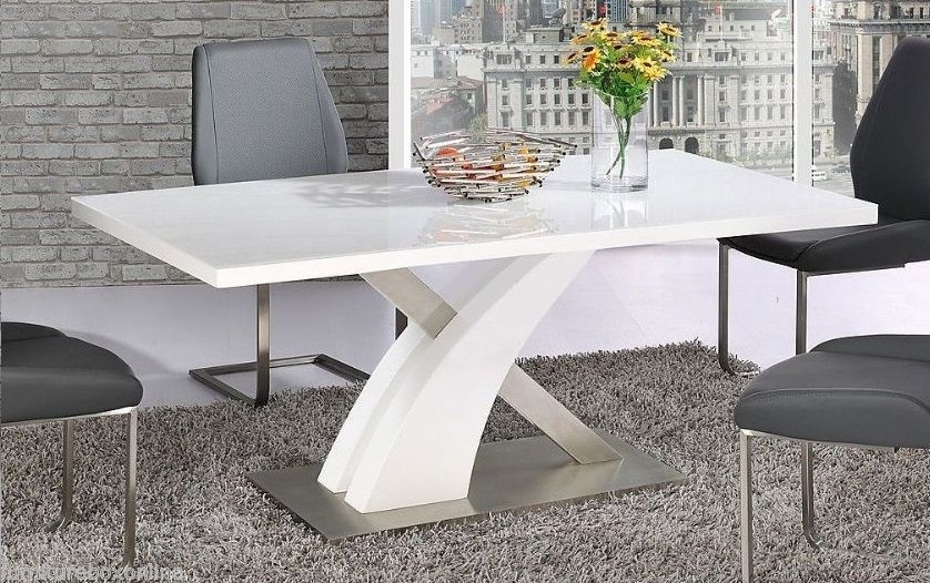 Modern Mayfair High Gloss Chrome White Metal 6 Chairs Seater Dining With Mayfair Dining Tables (Image 20 of 25)