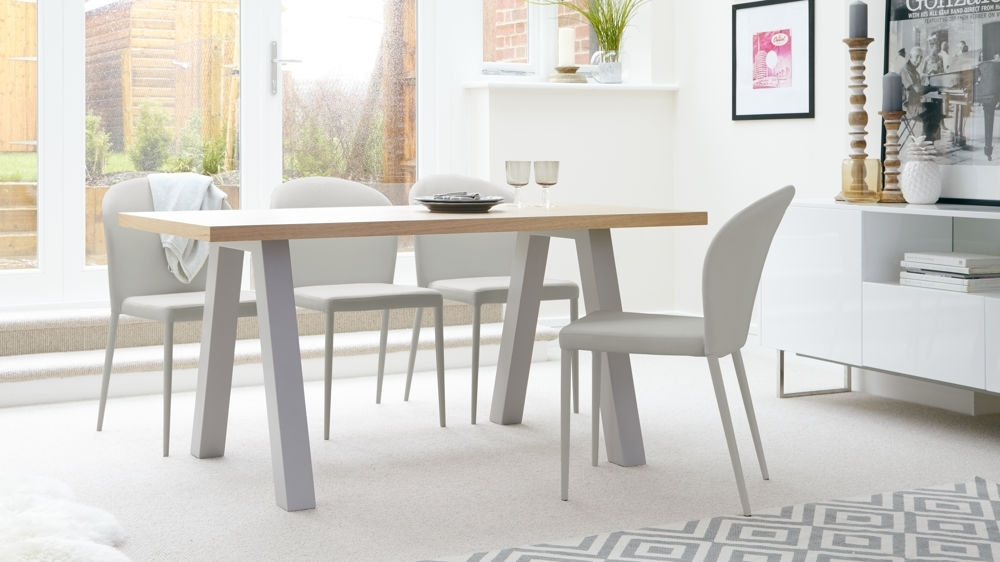 Modern Oak 6 Seater Dining Set | Faux Leather Dining Chairs With Regard To Oak 6 Seater Dining Tables (Image 19 of 25)
