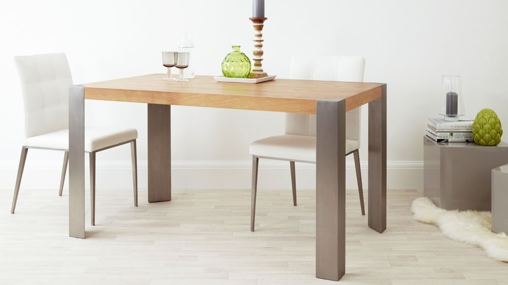 Modern Oak Dining Table | Brushed Steel Legs | Seats 6 Pertaining To Brushed Steel Dining Tables (View 2 of 25)