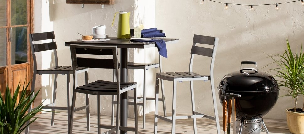 Modern Outdoor Dining Furniture | Allmodern Inside Jaxon Grey 7 Piece Rectangle Extension Dining Sets With Uph Chairs (Image 18 of 25)