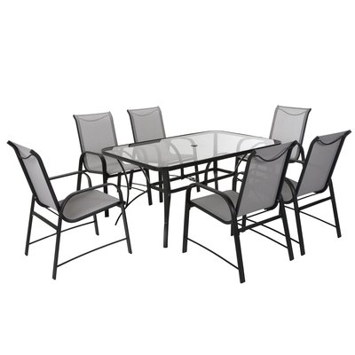 Modern Outdoor Dining Sets | Allmodern Within Candice Ii 7 Piece Extension Rectangular Dining Sets With Uph Side Chairs (View 25 of 25)