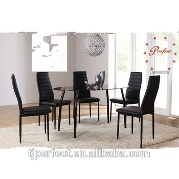 Modern Oval Shape Black Top Glass Dining Table With Leather Chairs For Glass Dining Tables And Leather Chairs (View 17 of 25)