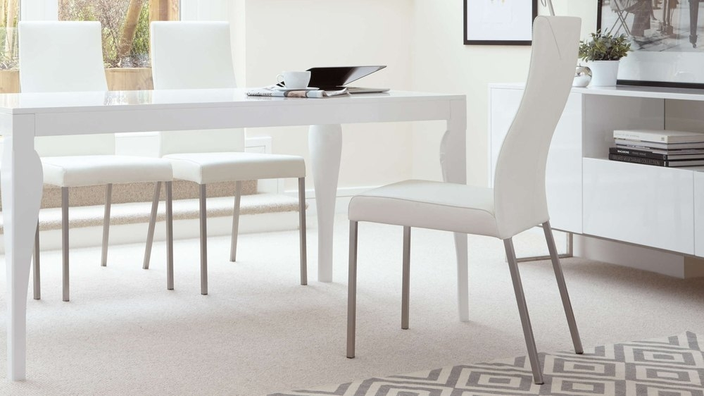 Modern Real Leather Dining Chairs   Genuine Soft Leather   Metal Legs Intended For Real Leather Dining Chairs (View 5 of 25)