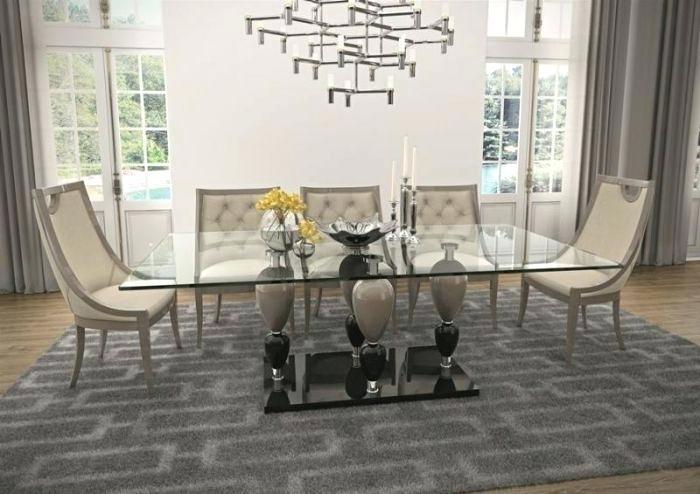 Modern Rectangular Wood Dining Table Modrest Crawford Glass In Crawford Rectangle Dining Tables (View 21 of 25)