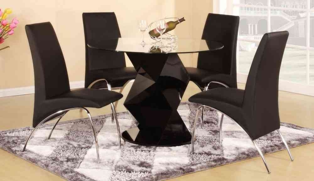 Modern Round Black High Gloss Clear Glass Dining Table & 4 Chairs For Round Black Glass Dining Tables And 4 Chairs (Image 19 of 25)