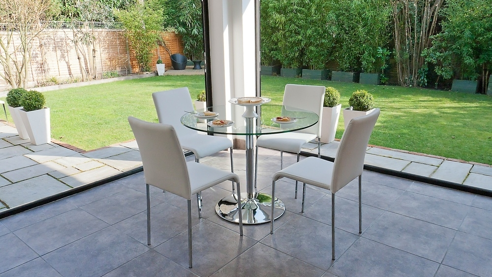 Modern Round Clear Glass Dining Set | 4 Stackable Chairs | Chrome Legs With Clear Glass Dining Tables And Chairs (Image 17 of 25)