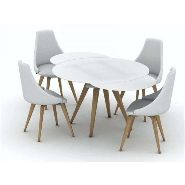 Modern Round Dining Table 631 White Gloss 4 6 Extending Dining Table For Extended Round Dining Tables (Image 16 of 25)