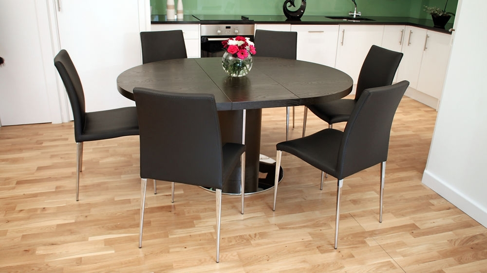 Modern Round Extending Dark Wooden Dining Set | Seats 4 6 | Oval Table Within Dark Wood Extending Dining Tables (Image 17 of 25)