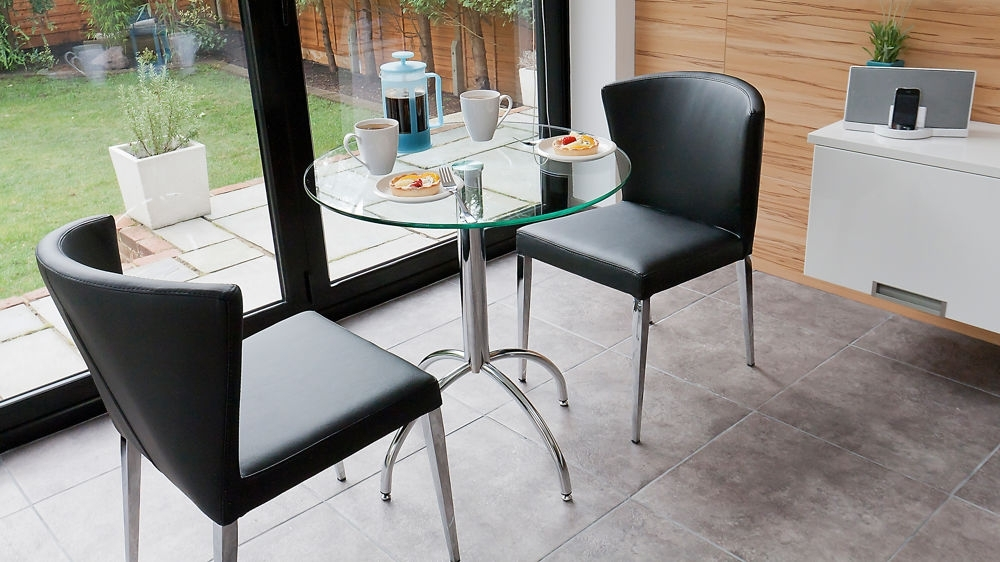 Modern Round Glass Kitchen Table Trendy Chrome Legs Throughout Two Person Dining Table Sets (Image 13 of 25)