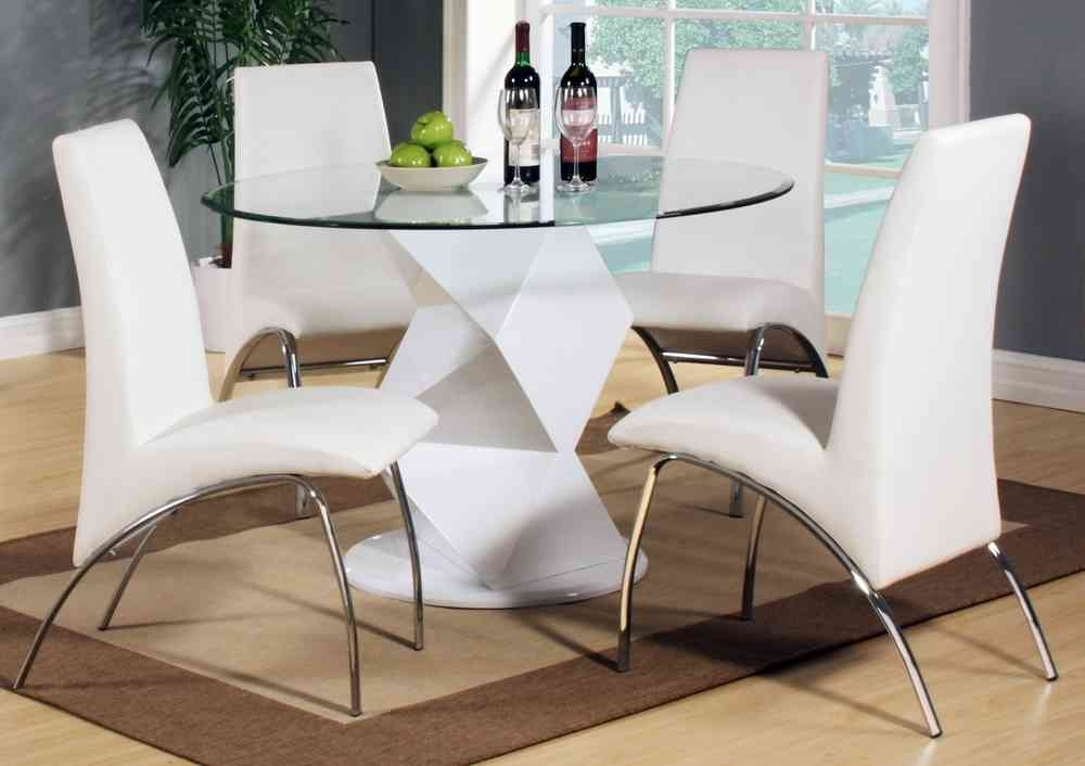 Modern Round White High Gloss Clear Glass Dining Table & 4 Chairs Within Clear Glass Dining Tables And Chairs (Image 18 of 25)
