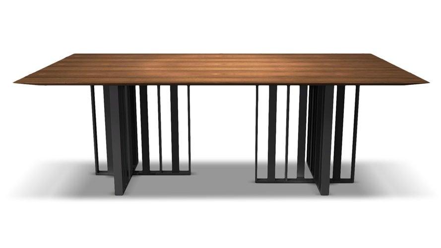 Modern Saida Rectangular Dining Table – Walnut On Titanium | Zuri Inside 87 Inch Dining Tables (Image 9 of 25)