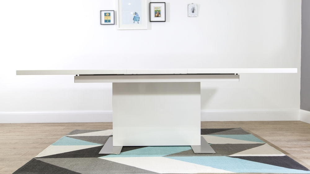 Modern Small Rectangular White Gloss Extending Dining Table Regarding Extending Rectangular Dining Tables (Image 16 of 25)
