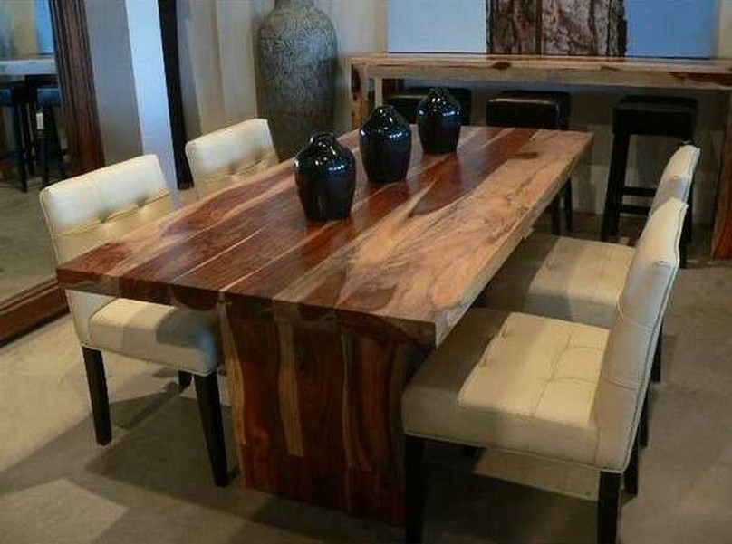 Modern Solid Wood Dining Table For Small Space | Nytexas Regarding Wood Dining Tables (Image 15 of 25)