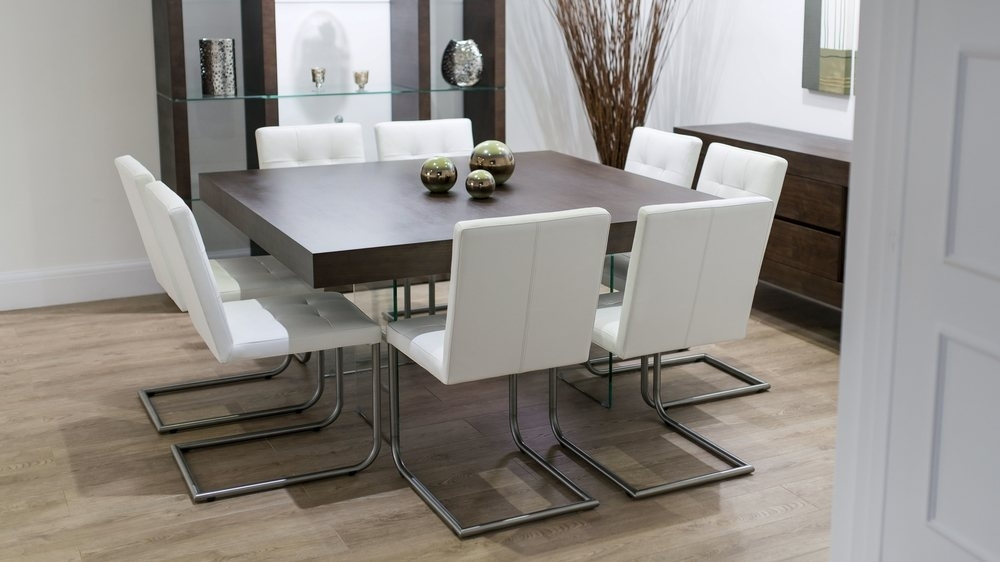 Modern Square Dark Wood Dining Set | Glass Legs | Real Leather Chairs In Dark Wood Square Dining Tables (View 13 of 25)