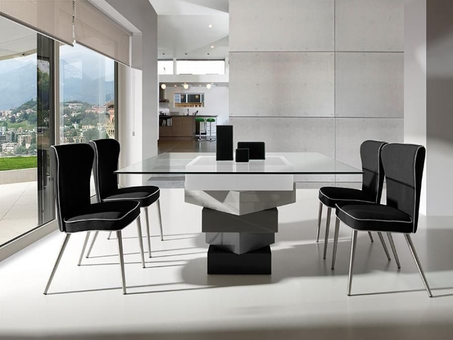 Modern Square Glass And High Gloss Cream Or Grey Dining Table | Home With Cream High Gloss Dining Tables (Image 16 of 25)