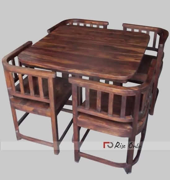 Modern Stylish Wooden Dining Table Set With 4 Chairs, Sheesham Wood With Regard To Sheesham Dining Tables And 4 Chairs (Image 15 of 25)