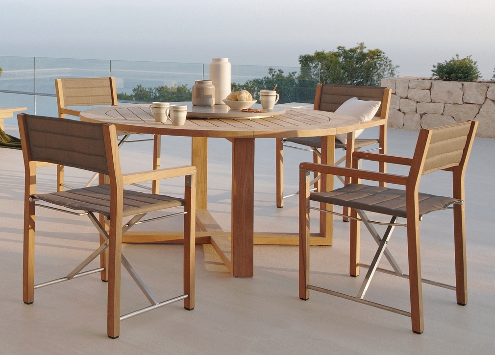 Modern Teak Batyline Outdoor Dining Oenthouse Balcony Luxury Patio For Outdoor Sienna Dining Tables (Image 8 of 25)