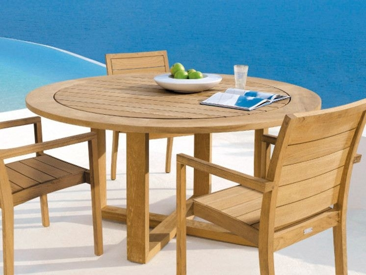 Modern Teak Batyline Outdoor Dining Oenthouse Balcony Luxury Patio Pertaining To Outdoor Sienna Dining Tables (View 9 of 25)