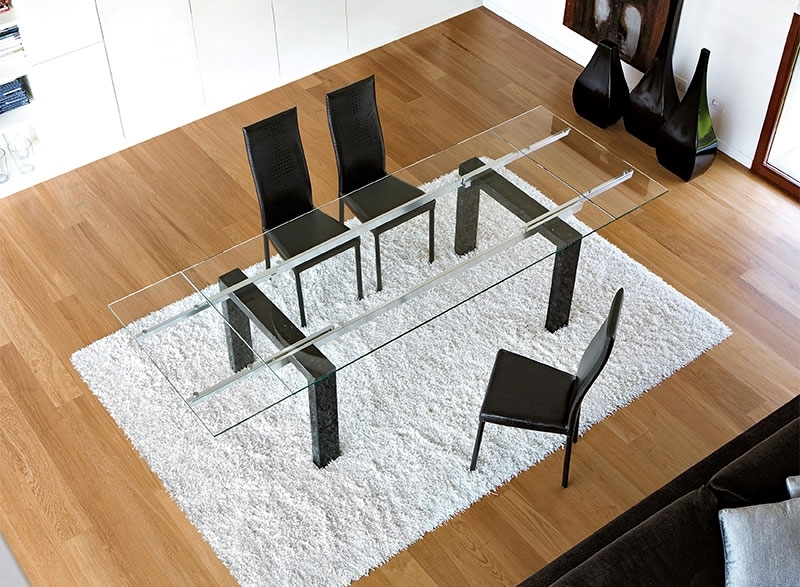 Modern Unico Boma Extending Glass Top Dining Table With Marble Legs With Extending Marble Dining Tables (Image 17 of 25)