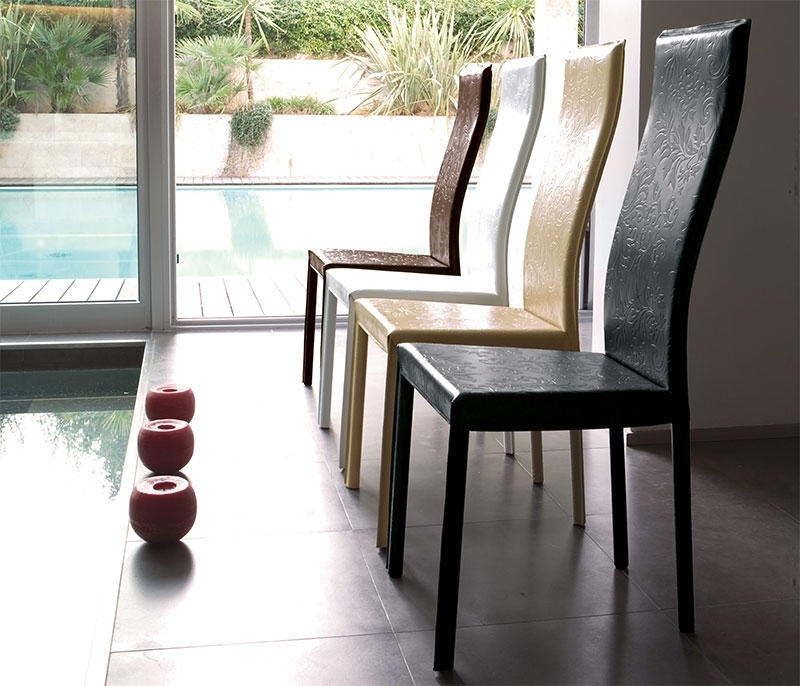 Modern Unico Onda Real Leather Dining Chair Choice Of Colour For Real Leather Dining Chairs (Image 13 of 25)