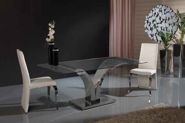 Modern V Shaped Base Glass Dining Table – Contemporary – Dining Intended For Contemporary Base Dining Tables (Image 19 of 25)