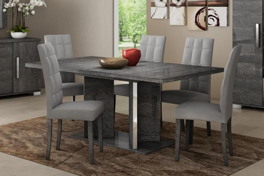 Modern Venicia Collection, Extending Dining Table In Grey Birch Look Intended For Grey Dining Tables (Image 20 of 25)
