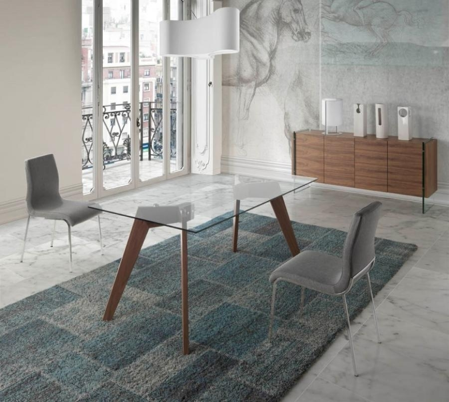 Modern Vienna Glass Top Dining Table, Walnut Legs/3 Sizes/rectangle With Vienna Dining Tables (View 6 of 25)