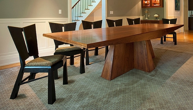 Modern Walnut Dining Table And Ebonized Charis – Modern – Dining Regarding Walnut Dining Tables (Image 14 of 25)