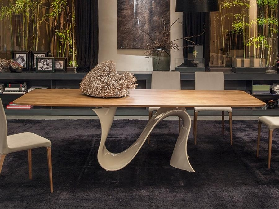 Modern Wave Dining Table With Wood Top | Tonin Casa Dining Room With Modern Dining Tables (View 24 of 25)