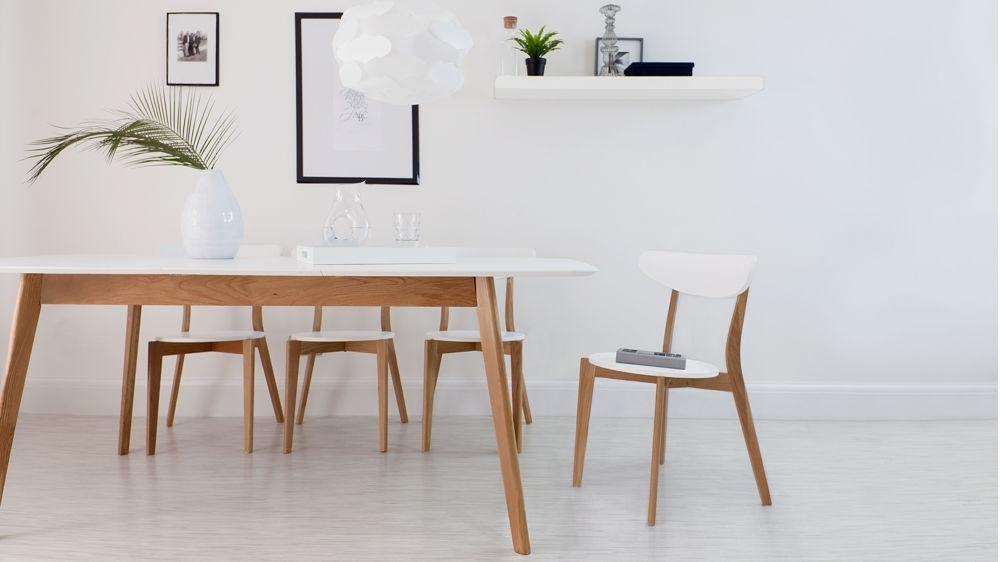 Modern White And Oak Extending Dining Set | Dining Chairs | For Oak Extending Dining Sets (Image 14 of 25)