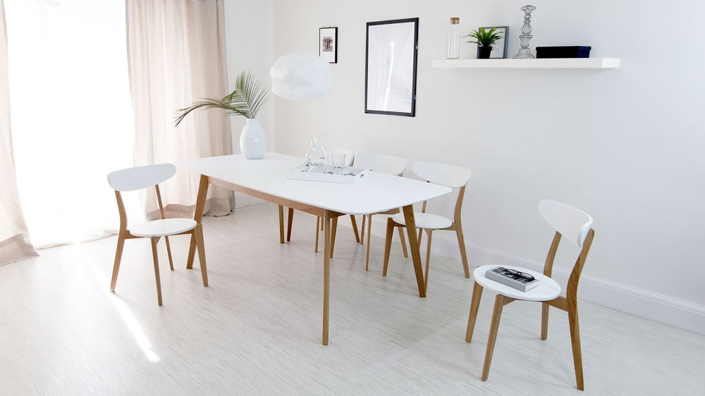 Modern White And Oak Extending Dining Set | Dining Chairs | Intended For White Extendable Dining Tables And Chairs (Image 17 of 25)