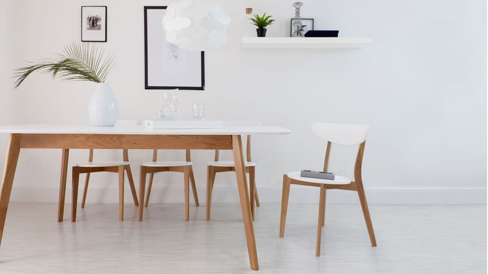 Modern White And Oak Extending Dining Set | Dining Chairs | Pertaining To Small White Extending Dining Tables (Image 16 of 25)
