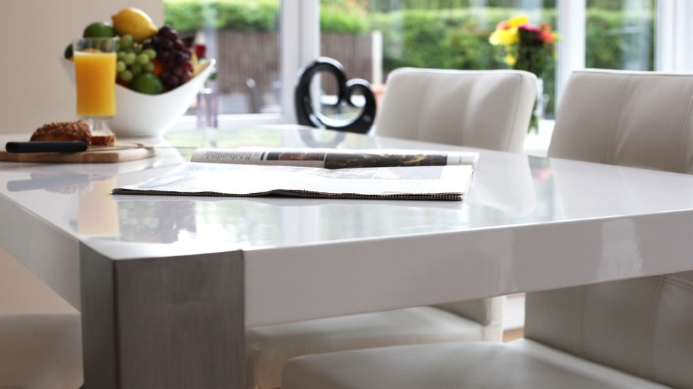 Modern White Gloss Dining Table| Brushed Steel Legs 6 Seater Intended For Brushed Metal Dining Tables (Image 16 of 25)
