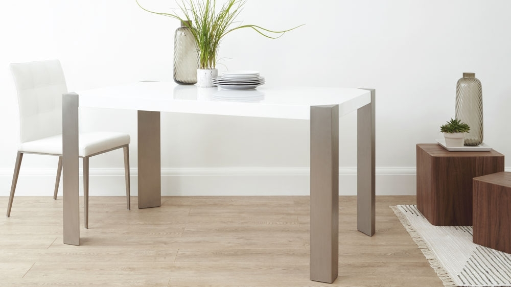 Modern White Gloss Dining Table| Brushed Steel Legs 6 Seater Throughout Black Gloss Dining Tables And Chairs (Image 17 of 25)