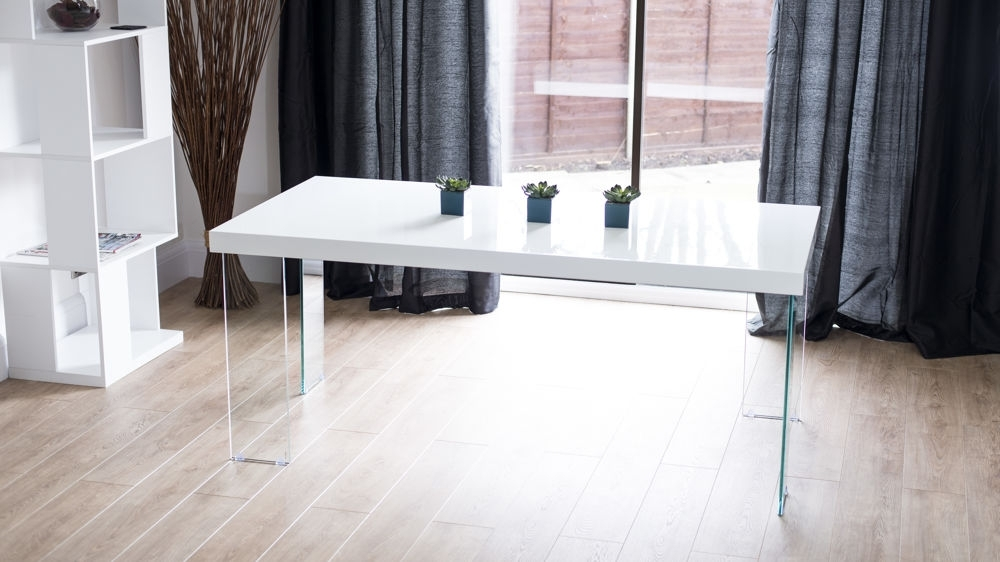 Modern White Gloss Dining Table | Glass Legs | Seats 6 – 8 Intended For Dining Tables With Large Legs (Image 19 of 25)
