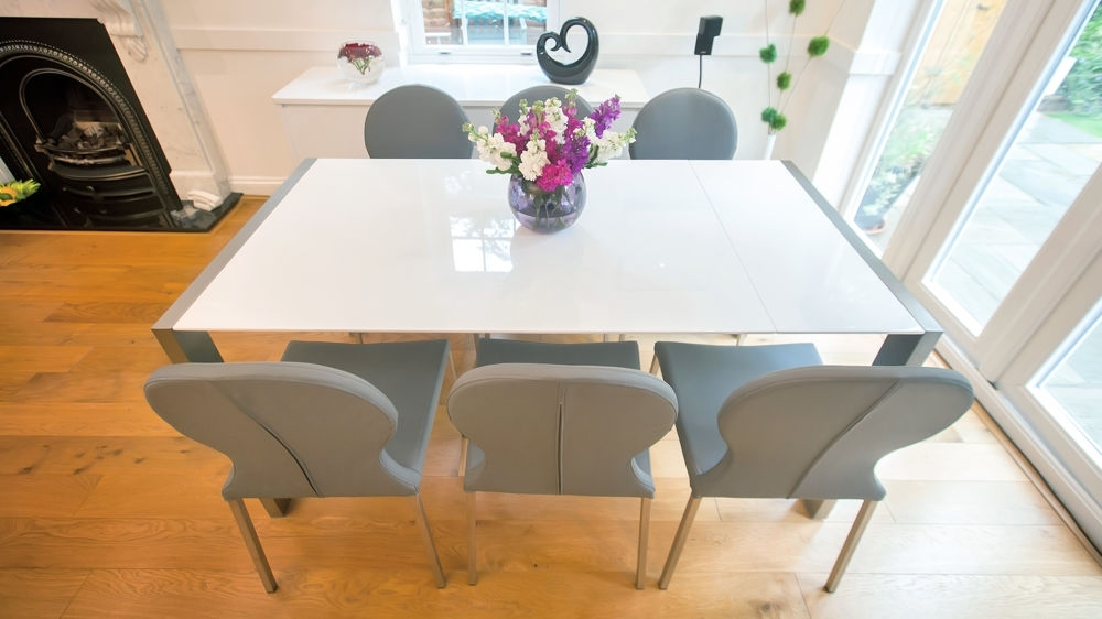 Modern White Gloss Extending Dining Table And Retro Chairs | Seats 8 Within White 8 Seater Dining Tables (Image 20 of 25)