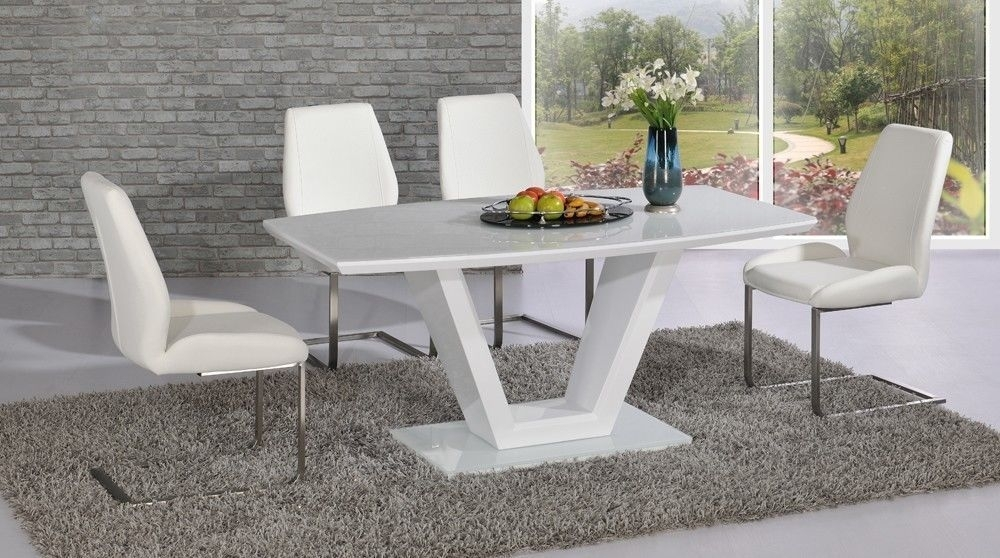 Modern White High Gloss Glass Dining Table And 6 Chairs For White Dining Tables With 6 Chairs (Image 16 of 25)