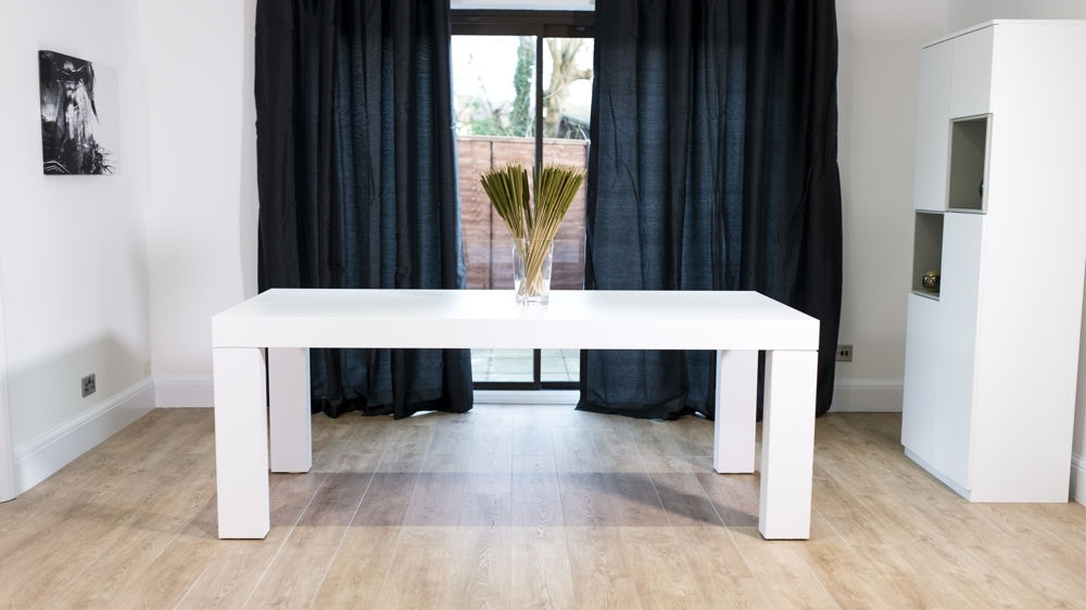 Modern White Oak Dining Set | Seats 6 – 8 | Chunky Table & Padded Chairs Throughout White 8 Seater Dining Tables (View 7 of 25)