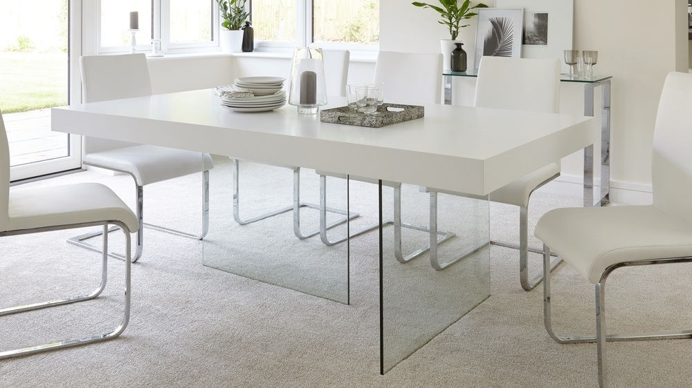 Modern White Oak Dining Table | Glass Legs | Seats 6 – 8 For White Dining Tables (Image 15 of 25)