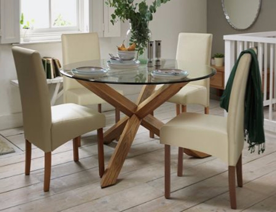Modern White Oak Dining Table Glass Legs Seats 6 8 Pertaining To For Inside Glass Dining Tables With Oak Legs (Image 17 of 25)