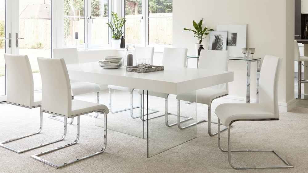 Modern White Oak Dining Table | Glass Legs | Seats 6 – 8 With Regard To White Gloss And Glass Dining Tables (View 2 of 25)